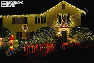 Residential-Holiday-Lighting-Icicle-lights-roof-edge,-Wreaths-Cane-Lighted-Path-www.decoratingelves.com