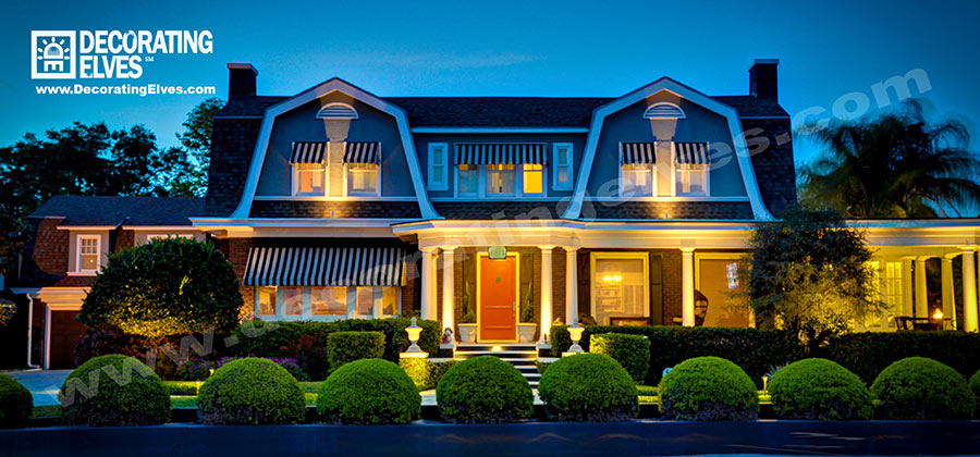 Front-of-Colonial-Houose-Landscape-Lighting,-www.decoratingelves.com