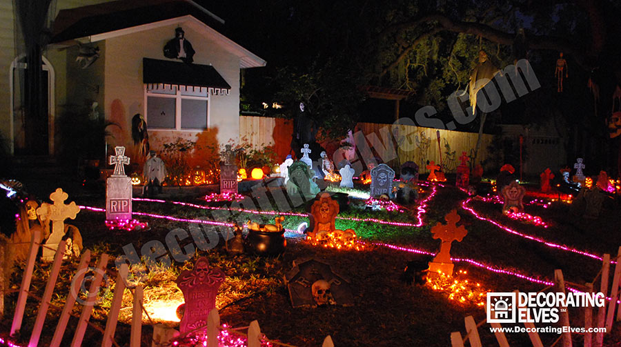 Halloween Lights and Décor with Graveyard scene