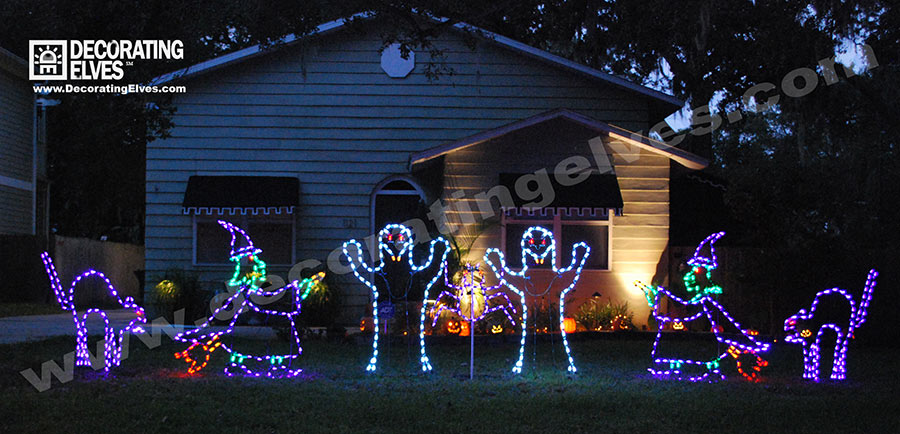 Halloween LED Lighted Wire Frames Black Cat, Witch, Ghost www.decoratingelves.com