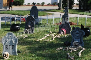 Daytime-Graveyard-Scene-with-Tombstones-Skeletons-Cauldrons-www.decoratingelves.com